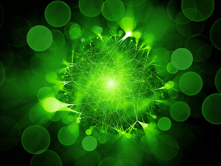 Green glowing network connections with circular bokeh, computer generated abstract background, 3D rendering