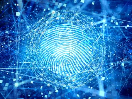 輝くブルー空間粒子、大きなデータ、デジタル指紋、インター ネット セキュリティでの接続を暗号化します。コンピューターで生成された抽象的な 写真素材