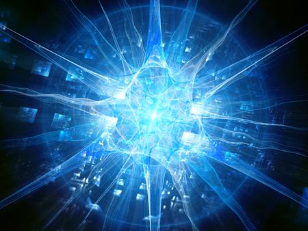 チップ、未来のバイオ テクノロジー、コンピューターで生成された抽象的な背景と未来青光る人間ニューロン 3 D レンダリング