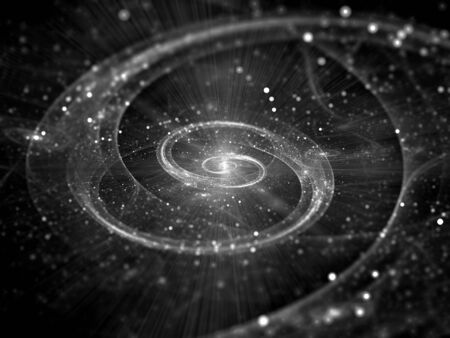 Spiral galaxy in deep space intensity map black and white, computer generated abstract effect, 3D rendering Stock Photo