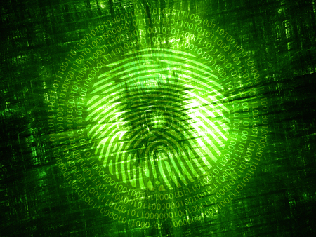 green technology: Green glowing hardware with digital fingerprint, computer generated abstract background, 3D rendering