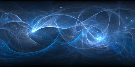 Blue glowing plasma curves in space, 360 degree panorama, computer generated abstract background, 3D rendering Stock Photo