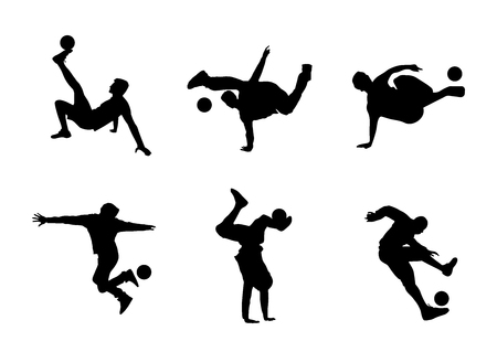 Set of vector silhouettes soccer freestyle, tricks with ball Ilustração