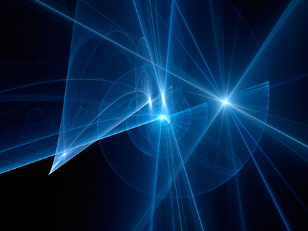 Blue glowing spiral trajectories in space, futuristic technology, computer generated abstract background, 3D rendering