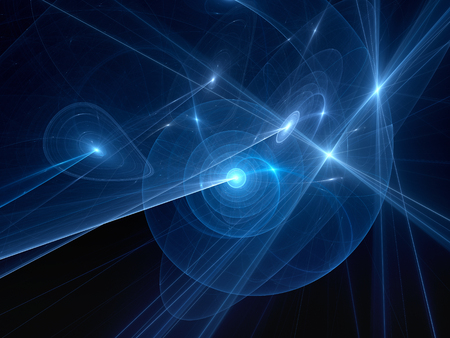 matter: Blue glowing spiral planetary systems with trajectories in space, computer generated abstract background, 3D rendering