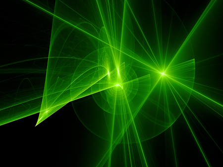 Green glowing spiral trajectories in space, futuristic technology, computer generated abstract background, 3D rendering