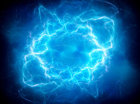 blue flame: Blue glowing plasma lightning, computer generated abstract background, 3D rendering Stock Photo