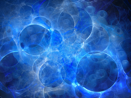 dimension: Blue glowing multidimensional bubbles in space, multiverse, computer generated abstract background, 3D rendering Stock Photo