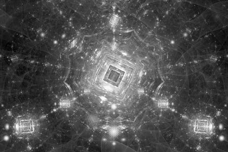 Quantum computer zwart-witte intensiteitskaart, computer gegenereerde abstracte effect, 3D-weergave Stockfoto
