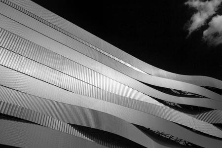 Waves of Danube Arena, modern architecture, black and white, Budapest, Hungary 版權商用圖片