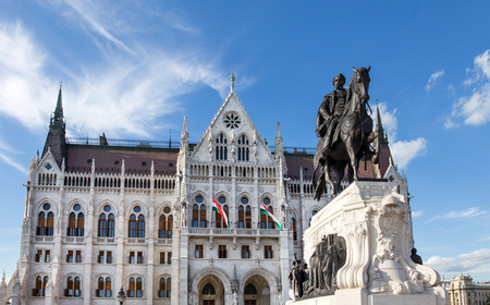 Parliament building with grof Gyula Andrassy statue, Budapest, Hungary