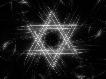 Jewish David star design, abstract fractal background, computer generated, black and white, 3D rendering Imagens