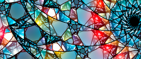Colorful glowing stained glass, computer generated abstract background, 8k widescreen, 3D rendering