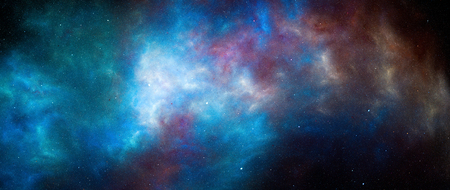 Colorful glowing nebula in deep space, computer generated abstract background, 5k widescreen, 3D rendering Stock Photo