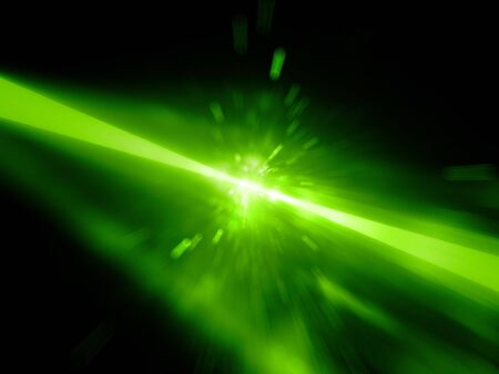 Green glowing laser beams hitting the target, explosion, computer generated abstract background, 3D rendering Stock Photo