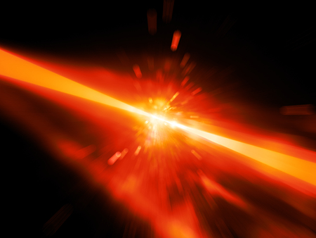 Red glowing laser beams hitting the target, explosion, computer generated abstract background, 3D rendering Stock Photo