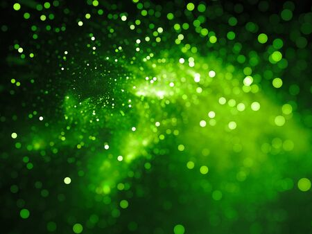Green glowing nebula with stars in bokeh, depth of field, computer generated abstract background, 3D rendering