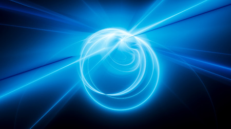 Blue glowing curves and circles in space, computer generated abstract background, 3D rendering