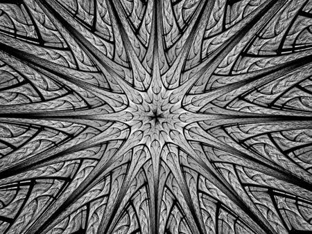 Star en forme de fractale rougeoyante dans l'espace, abstrait généré par ordinateur, rendu 3D Banque d'images - 84940906