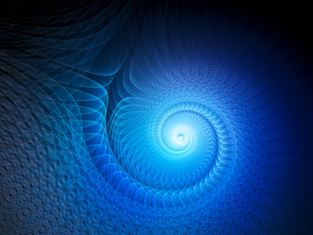 Blue glowing multidimensional spiral, computer generated abstract background, 3D rendering