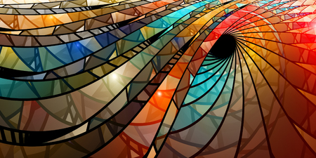 Colorful stained glass spiral, computer generated abstract background, 3D rendering Foto de archivo