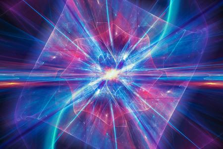 量子論のカラフルなイラストは、コンピューター生成された抽象的な背景、3 D レンダリング