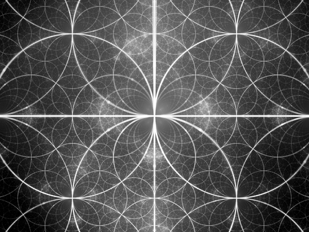 Glowing symmetrical fractal circles, computer generated abstract background, black and white texture, 3D rendering Banco de Imagens