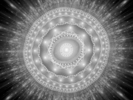 Glowing space mandala texture black and white, computer generated abstract background, 3D rendering Stock Photo