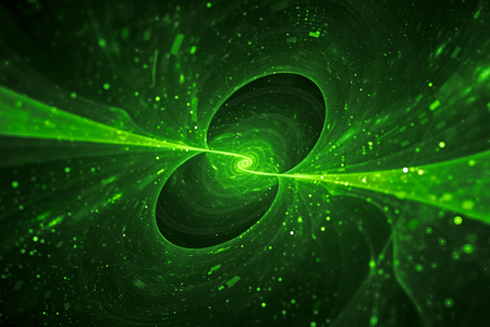 Green glowing spinning spiral energy source in space, computer generated abstract background, 3D rendering