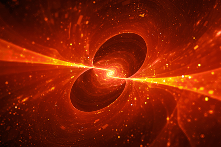 Fiery glowing spinning spiral energy source in space, computer generated abstract background, 3D rendering