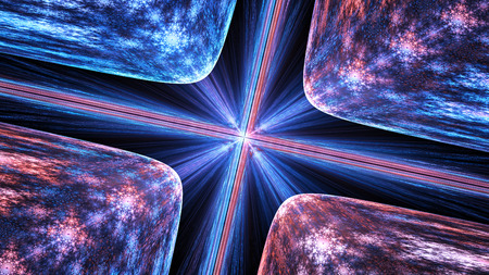 Glowing quantum theory, computer generated abstract background, 3D rendering Imagens