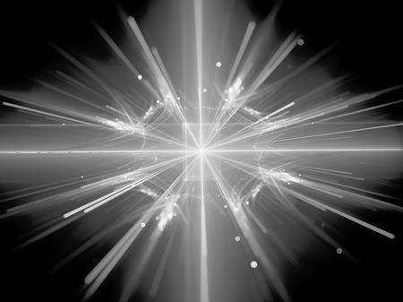 Fission in large hadron collider black and white texture, computer generated abstract background, 3D rendering Stock Photo