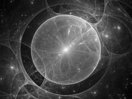 Gravitational lens in space black and white texture, computer generated abstract background, 3d rendering 版權商用圖片