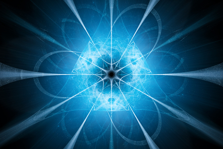 Blue glowing nuclear technology design, computer generated abstract background, 3D rendering Stock Photo