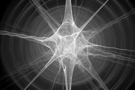Gloeiende neuronenfractal, zwart-witte textuur, computer geproduceerde abstracte achtergrond, het 3D teruggeven