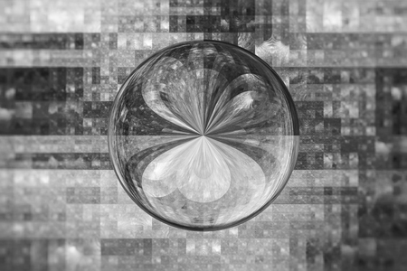 Glossy ball in technology grid black and white texture, computer generated abstract background, 3D rendering