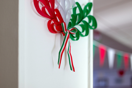 Hungarian tricolor decoration on wall in school