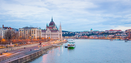Budapest at evening panorama with blue Danube, Hungary Stock Photo