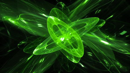 Green glowing magical quantum, computer generated abstract background, 3D rendering