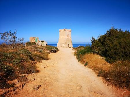 Ghajn Tuffieha tower at Malta, EU Stock Photo