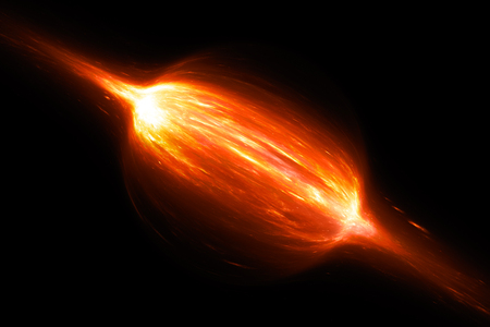 Fiery bipolar glowing magnetic field with plasma in space, computer generated abstract background, 3d rendering