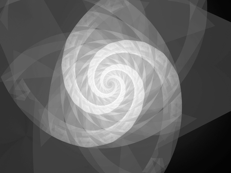 Spiral geometric fractal, black and white texture, computer generated abstract background, 3D rendering Stock Photo