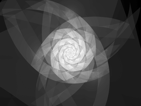 Spiral geometric fractal shape, black and white texture, computer generated abstract background, 3D rendering Stock Photo
