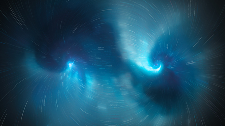 Blue glowing nebula with dashed force field trajectories, computer generated abstract background, 3D rendering