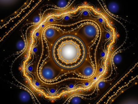 Orange glowing grand julian fractal with blue balls, computer generated abstract background, 3D rendering