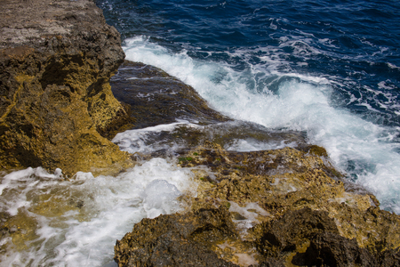 Cliff of Gozo Malta in waves at daylight, Europe