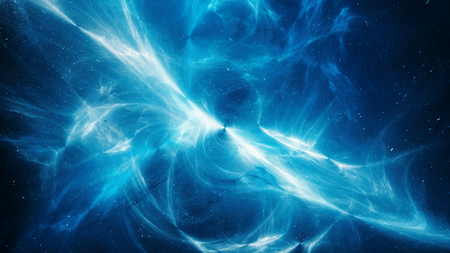 Blue glowing high energy plasma field in space, computer generated abstract background, 3D rendering Imagens - 112454442