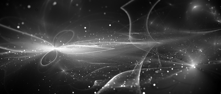 New futuristic innovative technology with tarjectories and particles, computer generated abstract background, black and white, 3D rendering Stock Photo