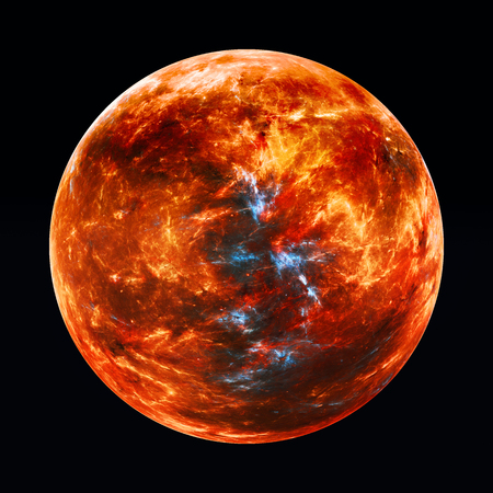 Fiery red exoplanet, computer generated abstract background, 3D rendering Фото со стока
