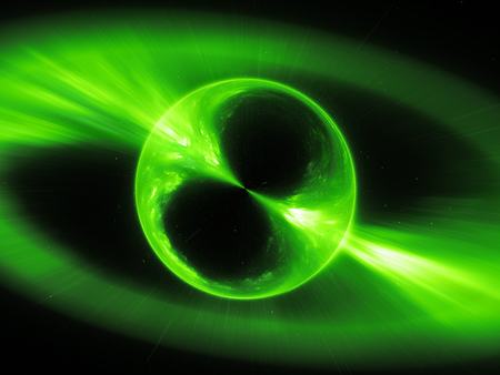 Green glowing supermassive mysterios object in space gamma ray burst, computer generated abstract background, 3D rendering